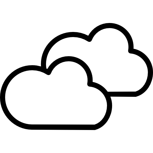 Cloudy Weather Symbol Outline Of Two Clouds Icons Free Download