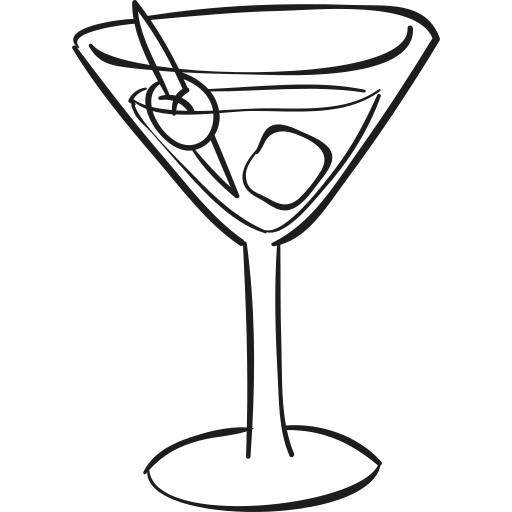 Cocktail Glass With Ice Cube Png Icon