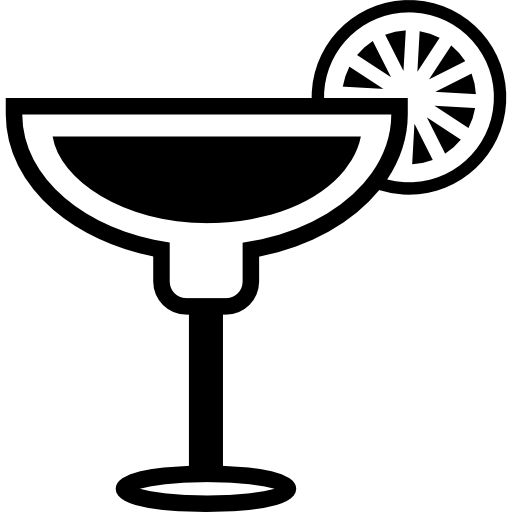 Cocktail Glass With Lemon Slice On The Border Icon Drinks Set