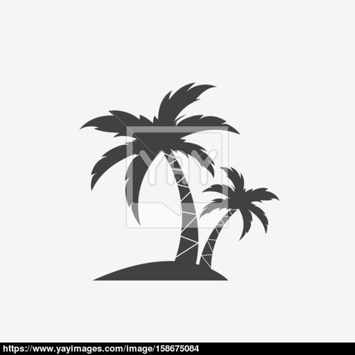 Vector Image Of An Coconut Trees Silhouette On Island On White B