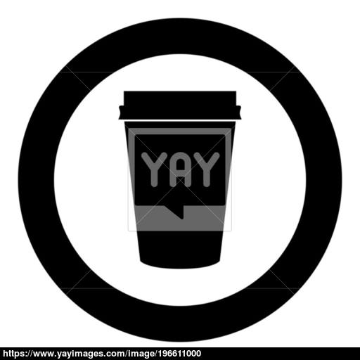 Paper Coffee Cup Icon Black Color In Circle Vector