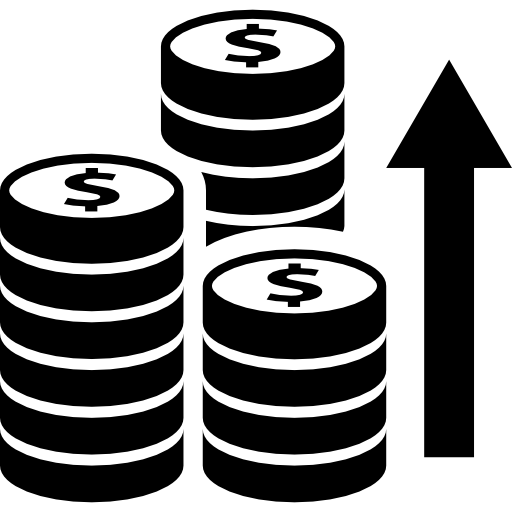 Coins Stacks With Arrow Upwards Icons Free Download