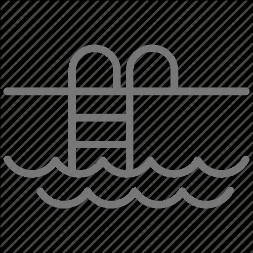 Ladder, Pool, Summer, Swim, Water, Waves Icon
