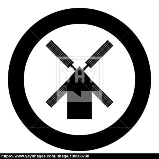 Mill Icon Black Color In Circle Vector