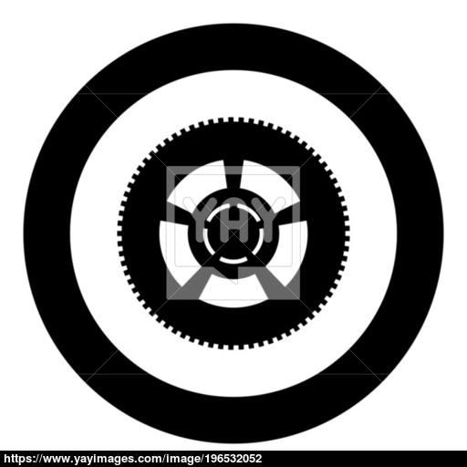 Car Wheel Icon Black Color In Circle Or Round Vector