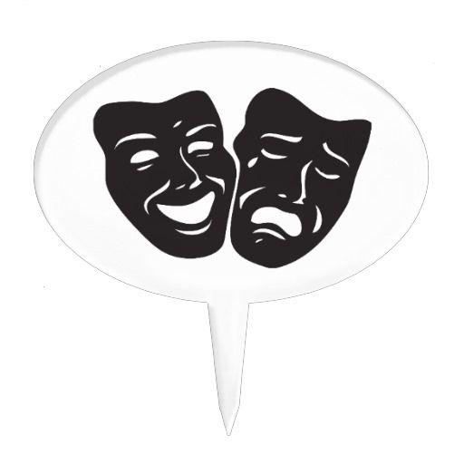 Comedy Tragedy Drama Theatre Masks Cake Topper Art
