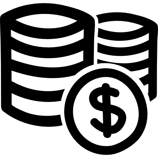 Coins Stacks Of Dollars Hand Drawn Commercial Symbol Icons Free