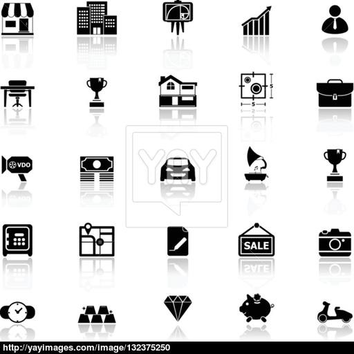 Asset And Property Icons With Reflect On White Background Vector