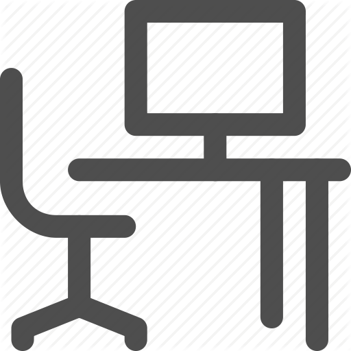Chair, Computer, Desk, Office, Study, Table, Work Icon