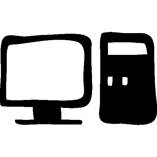 Computer And Monitor Hand Drawn Tools