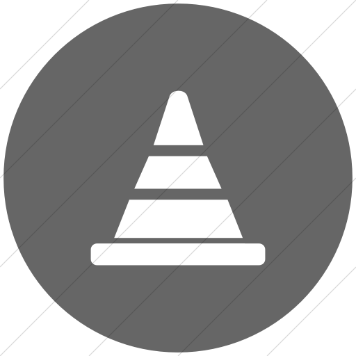 Flat Circle White On Gray Broccolidry Traffic Cone Icon