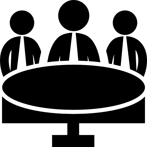 Business Meeting Group On Circular Table Icons Free Download