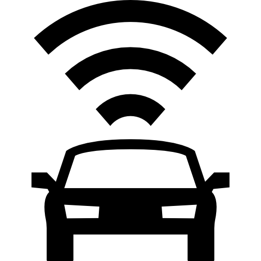 Car Frontal View With Signal Connection Icons Free Download