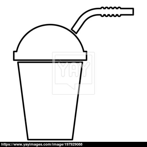 Closed Container For Hot Cold Drinks With Straw Icon Black Color