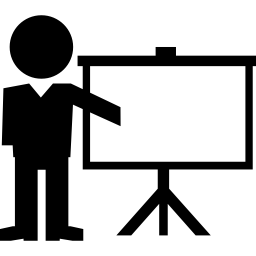 Instructor Lecture With Sceen Projection Tool Icons Free Download