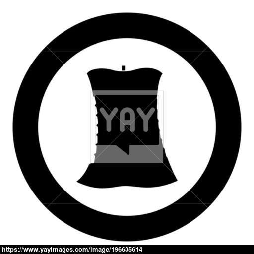 Apple Core Black Icon In Circle Vector Illustration Vector