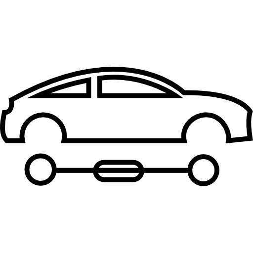Car Silhouette With Detached Wheels Icons Free Download