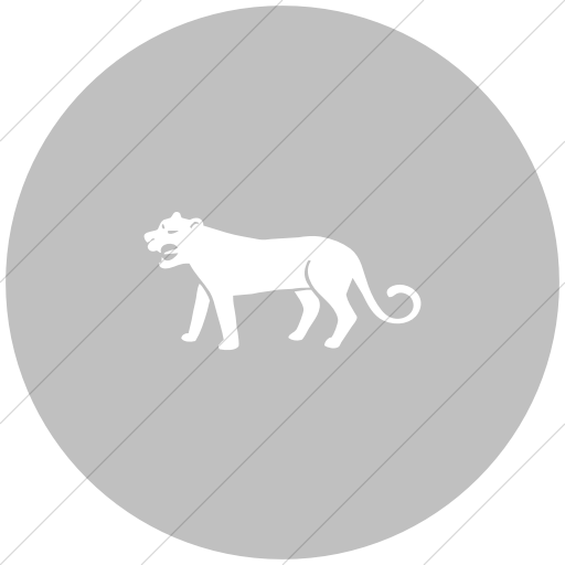 Flat Circle White On Silver Animals Mountain Lion Icon