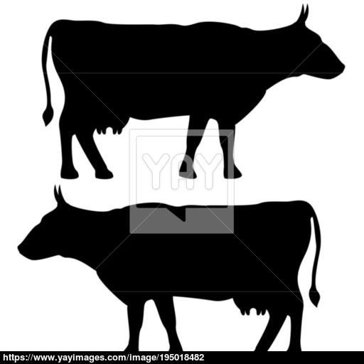 Cow Icon Black Color Set Flat Illustration Vector