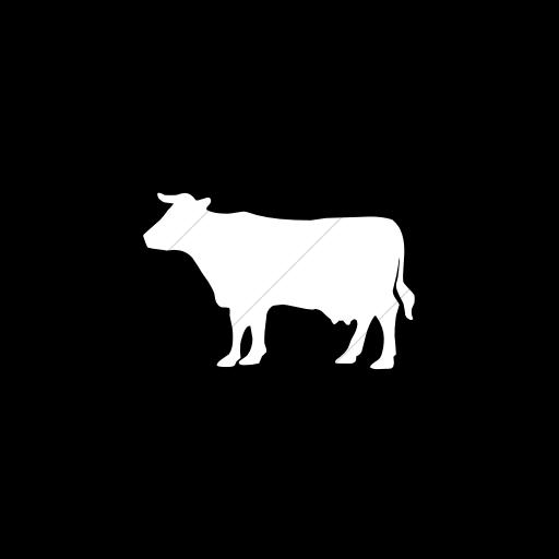 Flat Circle White On Black Animals Cow Icon