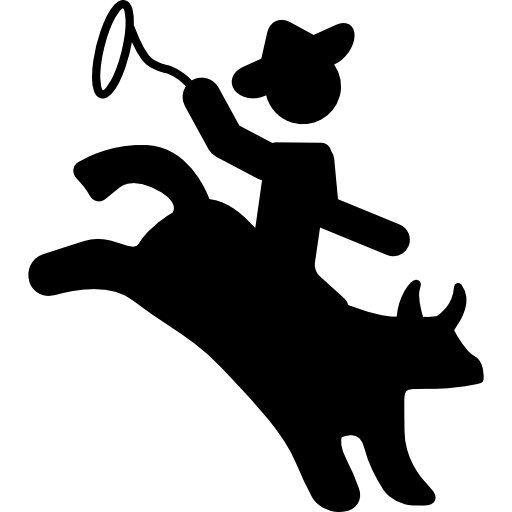 Rodeo Silhouette Of A Mammal With A Cowboy Riding On Him