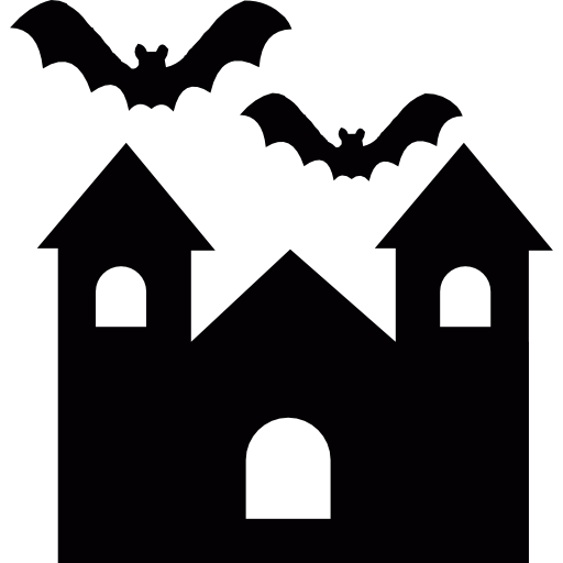 Halloween Spellbound Creepy Mansion With Bats Icons Free Download