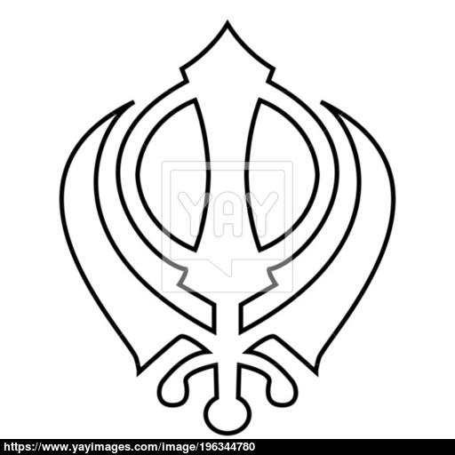 Khanda Symbol Sikhi Sign Icon Black Color Illustration Flat Style