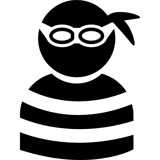 Criminal Wearing Eye Piece And Striped Top Icons Free Download