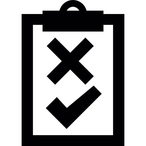 Clipboard With Check And Cross Mark