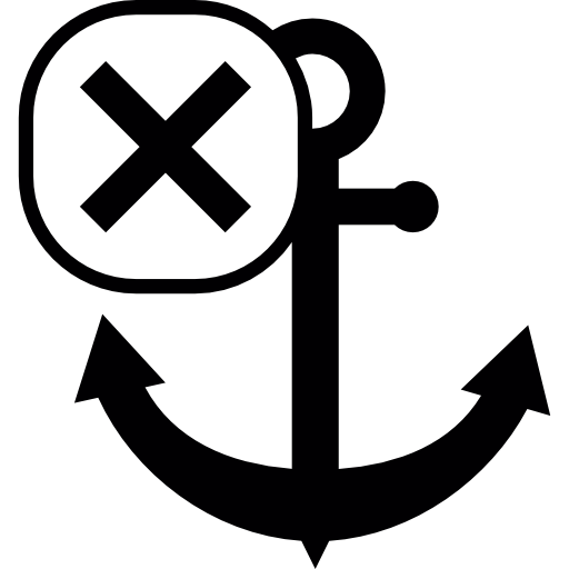 Anchor Symbol With Cross Mark