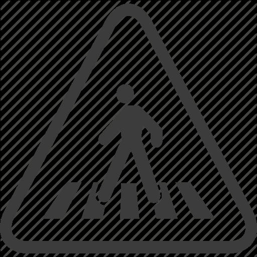 Crosswalk, Pedestrian, Sign, Warning, Warning Sign Icon