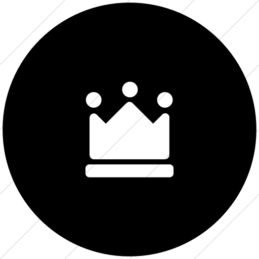 Flat Circle White On Black Foundation Crown Icon
