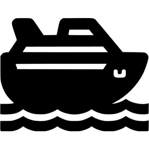 Black Cruise Ship Icon