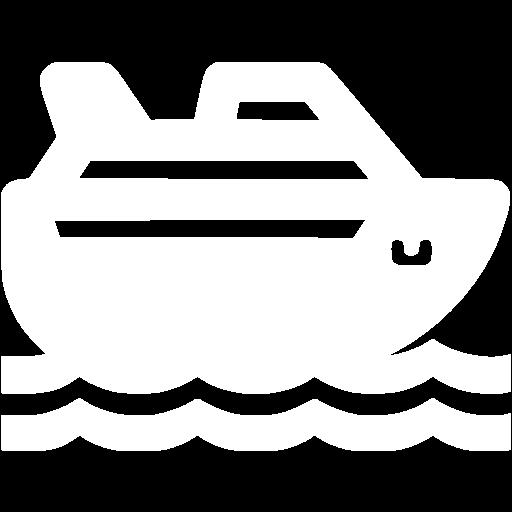 White Cruise Ship Icon