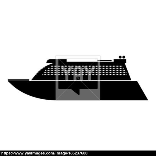 Transatlantic Cruise Liner Black Color Icon Vector