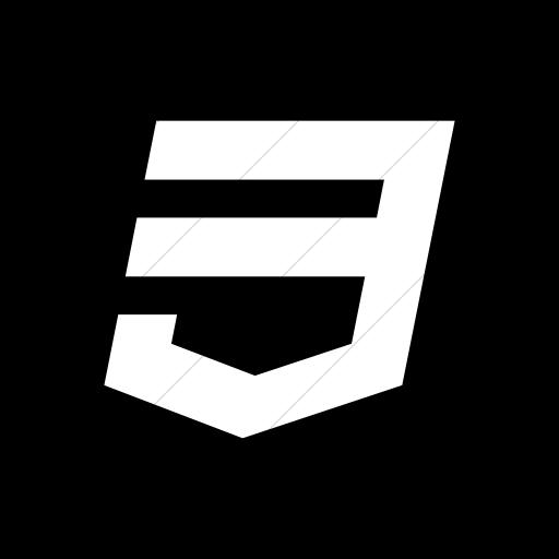 Flat Rounded Square White On Black Social Media Icon