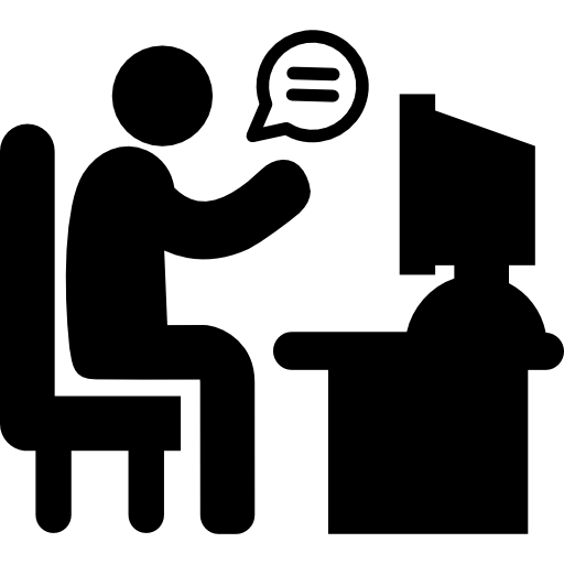 Man On His Desk In Chat With A Client Free Vector Icons Designed