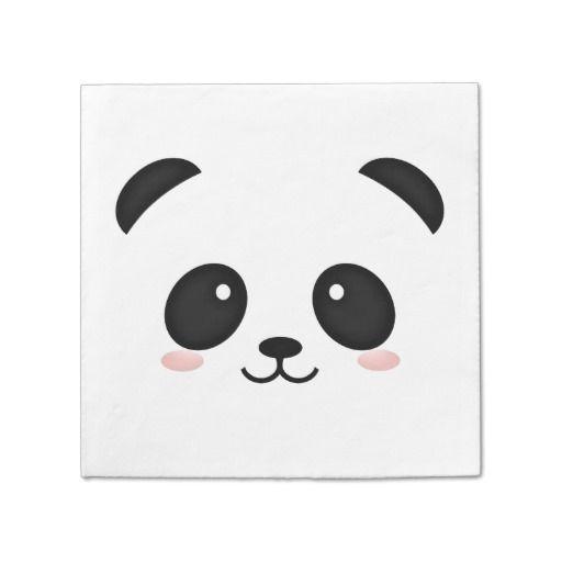 Cute Panda Face Kawaii Portrait Paper Napkin Custom