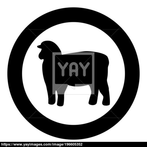Sheep Silhouette Black Icon In Circle Vector Illustration Isolated