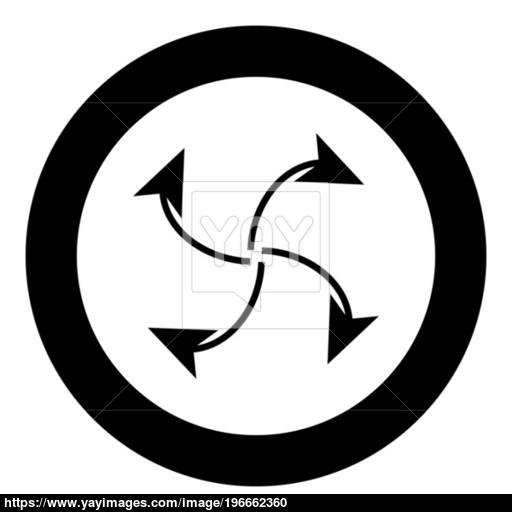 Four Arrows In Loop From Center Black Icon In Circle Vector