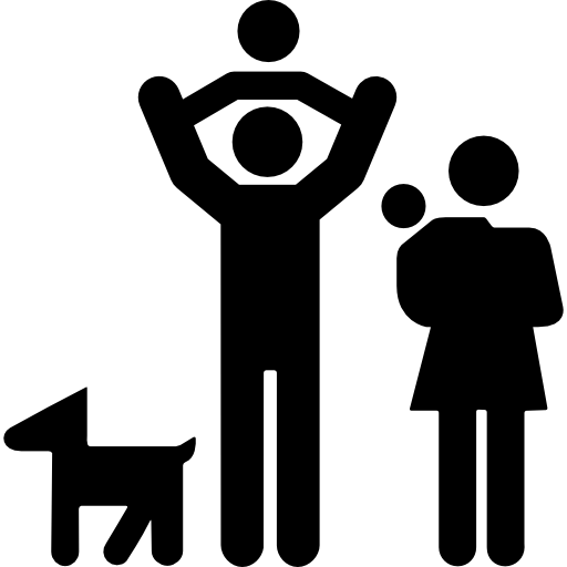 Family Group Of Father And Mother With Two Babies And A Dog Icons