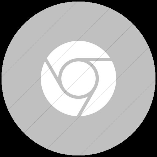 Flat Circle White On Silver Raphael Chrome Icon