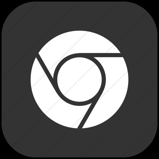 Flat Rounded Square White On Dark Gray Raphael Chrome Icon