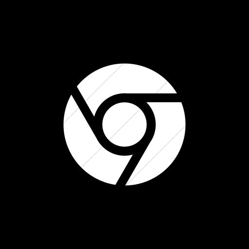 Flat Square White On Black Social Media Chrome Icon
