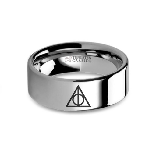 Harry Potter Deathly Hallows Symbol Laser Engraved Tungsten Ring