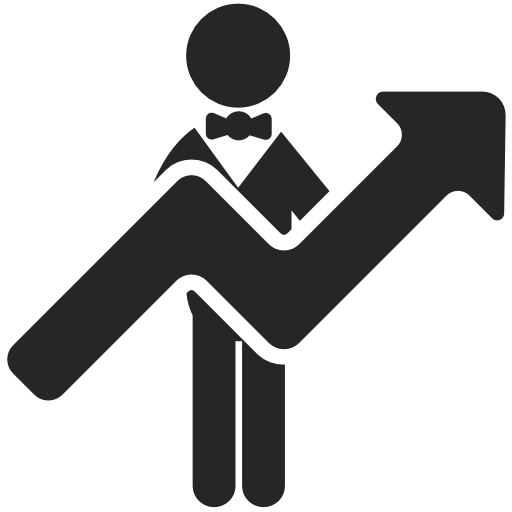 Man And Big Ascending Arrow Free Icon Free Flat Icons