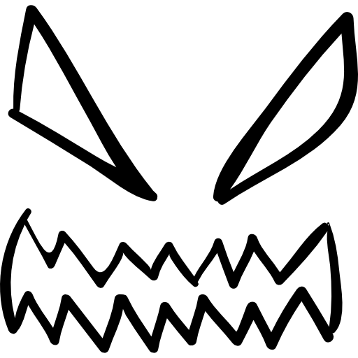 Halloween Demon Eyes And Mouth Outlines Icons Free Download