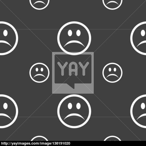 Sad Face, Sadness Depression Icon Sign Seamless Pattern On A Gray