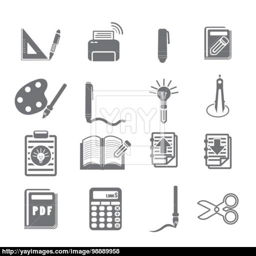 Tools Learning Icon Set Vector