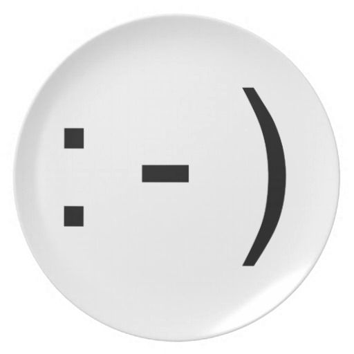 Smiling Happy Emoticon Text Icon Dinner Plate